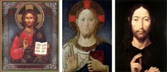 Exemplos do sinal de benção em obras de arte de diversas épocas diferentes